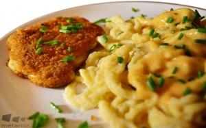 Gericht: Spätzle mit Rahmsauce und vegetarischem Schnitzel