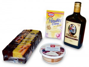 Zutaten für Tiramisu mit weißer Schokolade