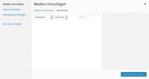 Auswahl von Bildern aus der Mediathek. Im Beispiel ist noch kein Bild auf dem Server.