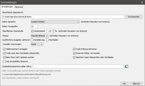 Arduino IDE, Voreinstellungen