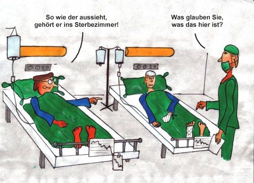 Cartoon: Sterbezimmer