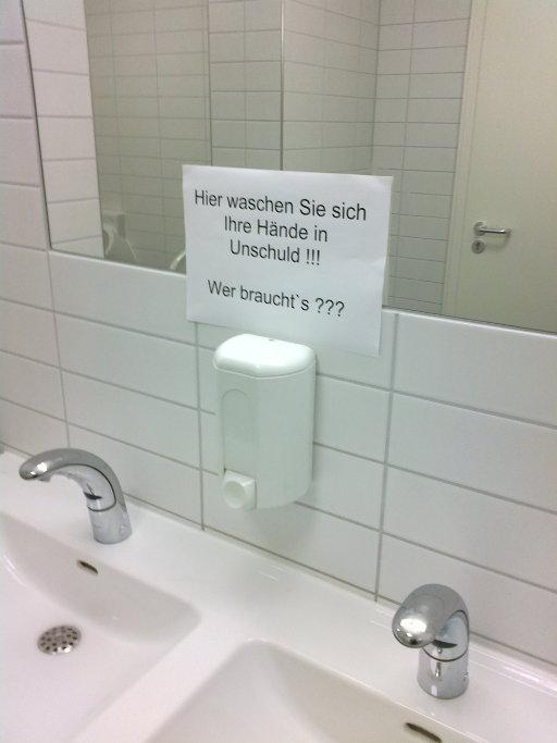 Hier waschen Sie sich Ihre Hände in Unschuld