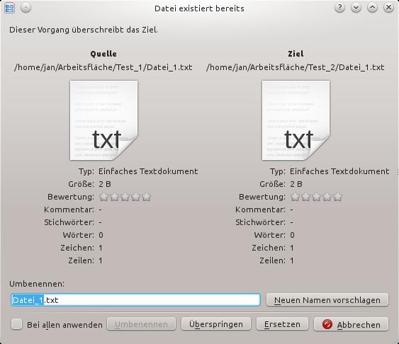 Linux, KDE: Kopieren und ersetzen